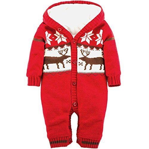 ZOEREA Baby Jungen Mädchen Weihnachten Elch Winter Strickjacke Pullover Jumper Strampler Babymode Sweatshirt Lange Ärmel verdicken plus Samt mit Kapuze Säugling Spielanzug Kletter Kleidung(0-24m)