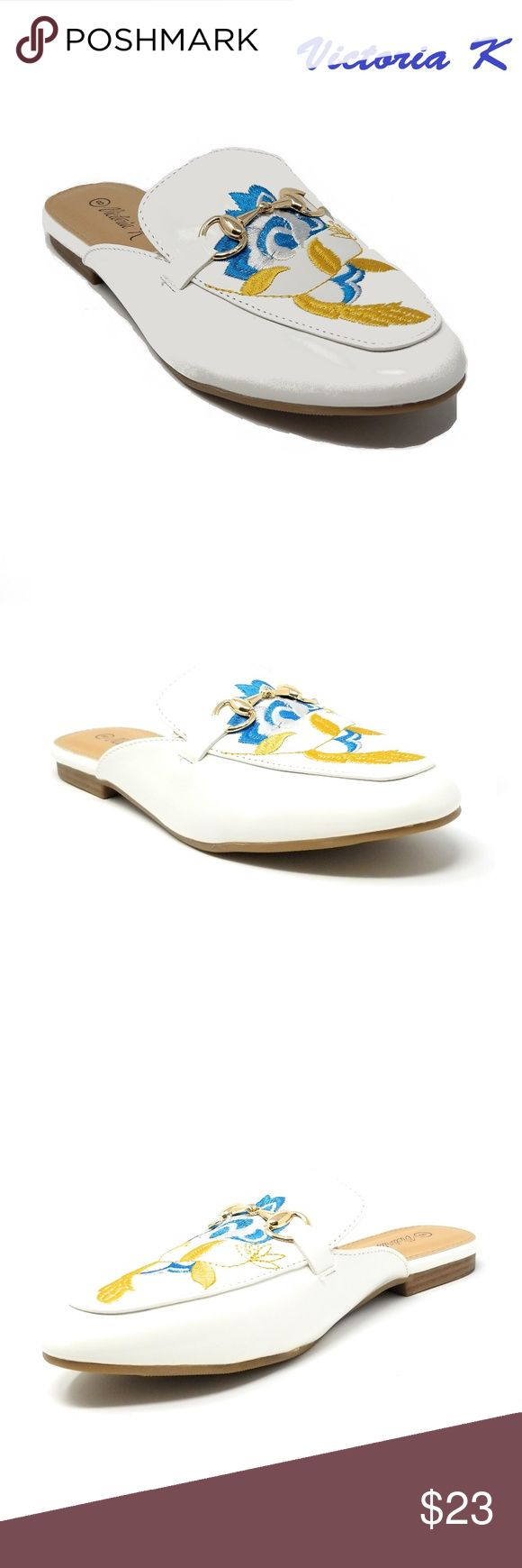 Women Slip-on Mules Slippers, HK-7084, White Slip on gorgeous flat mules for a fashionable woman. Faux-leather upper. Rubberized outer sole for traction. Sizes 6 through 8 are true, but 9 and 10 run small by a half-size. A true statement in ladies shoes fashion! Victoria K Shoes Flats & Loafers