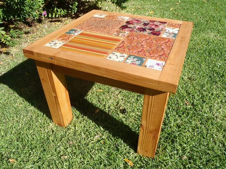 Handmade tiles on oregan side table