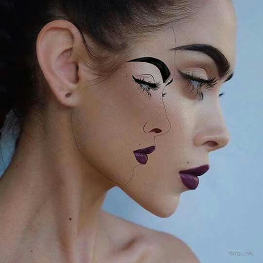 #Makeup Firstever such kind of Art seen as Artiste added the second face on Realface even tough to find which one is #Realone  wonderfull art PC unknown Shared by Kainth'z #Salon #Recruiter #Jobs #North #India ♤♤ www.kainthconsultancy.com ♤♤
