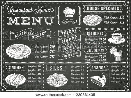 A full vector template Chalkboard menu for restaurant and snack bars with grunge…