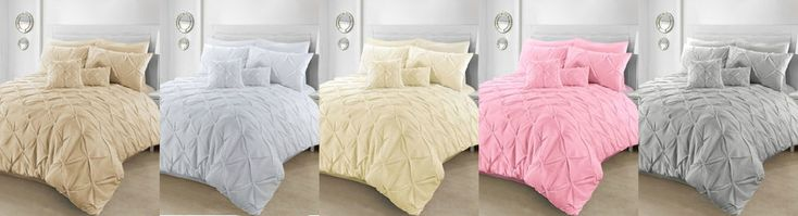 Pintuck Polycotton Duvet Cover Sets with Pillow Cases Bedding Sets