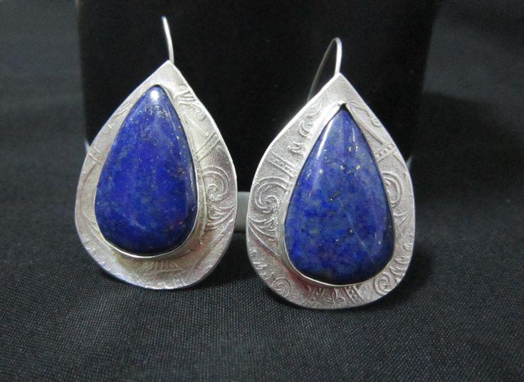Earrings, Art Clay Silver, Lapis Lazuli, by Cris Briz