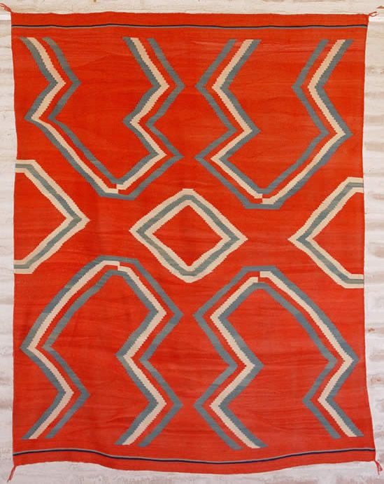 Historic Native American Textile. 1880 Late Classic Blanket With Indigo  Blue And Green Very Finely