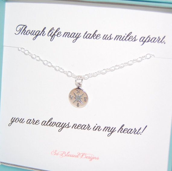 Going away gift necklace for best friend Compass necklace going away gift moving away present by SoBlessedDesigns $29.00