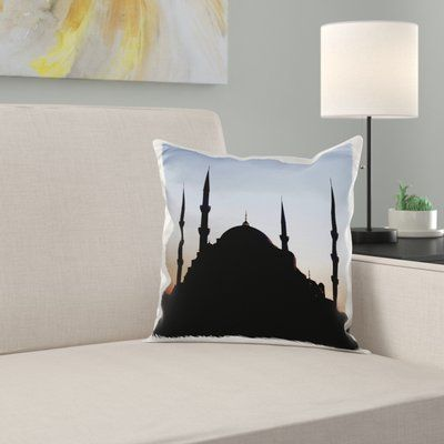 East Urban Home Turkey, Istanbul, Blue Mosque, Sunset Pillow Cover
