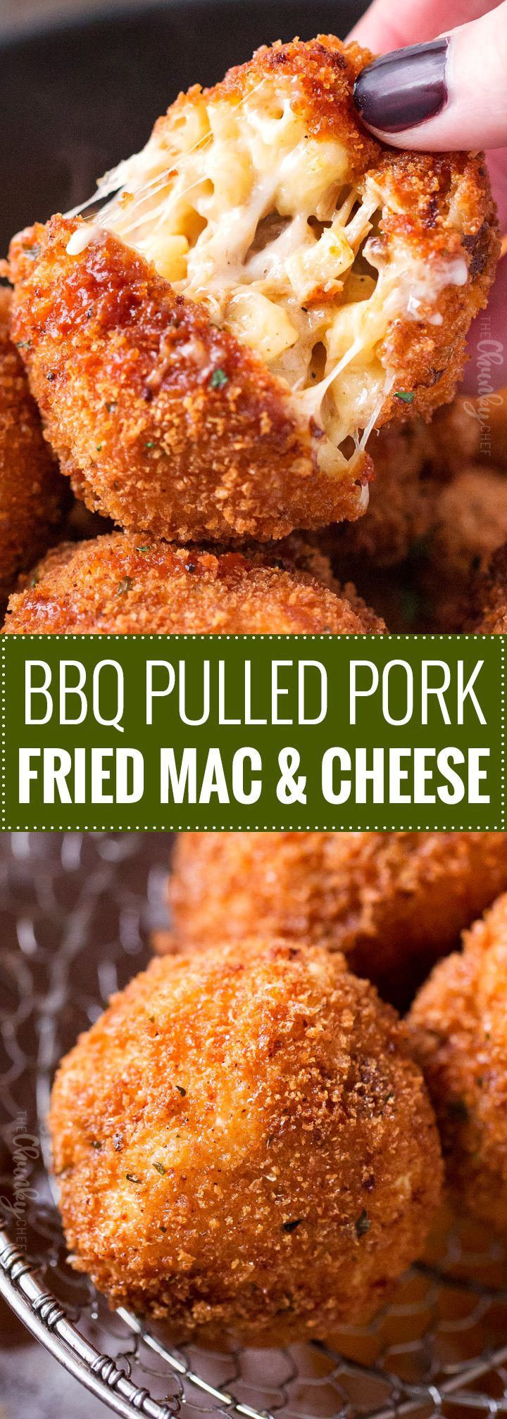BBQ Pulled Pork Fried Mac and Cheese Bites   5 cheese homemadeMac and cheese, slow cooker bbq pulled pork, combined and breaded in crispy spiced panko and fried until perfectly golden!   https://thechunkychef.com   #appetizer #gameday #tailgating #friedmacandcheese #pulledpork