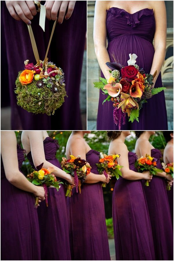 This is kind of my idea, but maybe not so big. I like the orange and red contrast with the purple dresses. With red shoes and jewelry .