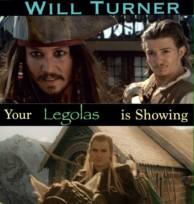 Will / William Turner is letting his Legolas show. ~ made by Samantha Morton. PotC Pirates of the Caribbean The Curse of the Black Pearl humor. Orlando Bloom