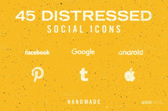 Distressed Social Icons - Handmade ~ Icons on Creative Market Simple and nice social media icons made with pencil and some ink plus grunge effect. Add a touch of sophistication to any project! #Social_Icons #Icons #Social_media_icons
