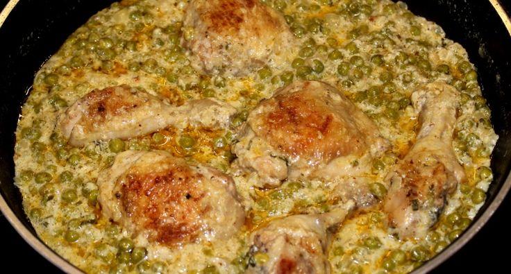 Krémes zöldborsós csirkecomb recept: Évek óta rendszeresen készítem ezt a krémes zöldborsós csirkecomb receptet. Egyszerű, gyors, és nagyon finom étel. Bárki kóstolta eddig, imádta. :) Érdemes kipróbálni!