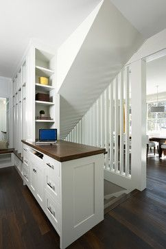 2013 Green Dream Home contemporary staircase. LOVE the charging center visible here as well as the slat wall divider!