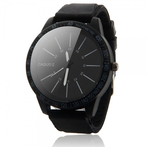 Men's Casual Oversized Watch Dial Needle Scale Quartz Wrist Watch Black & White