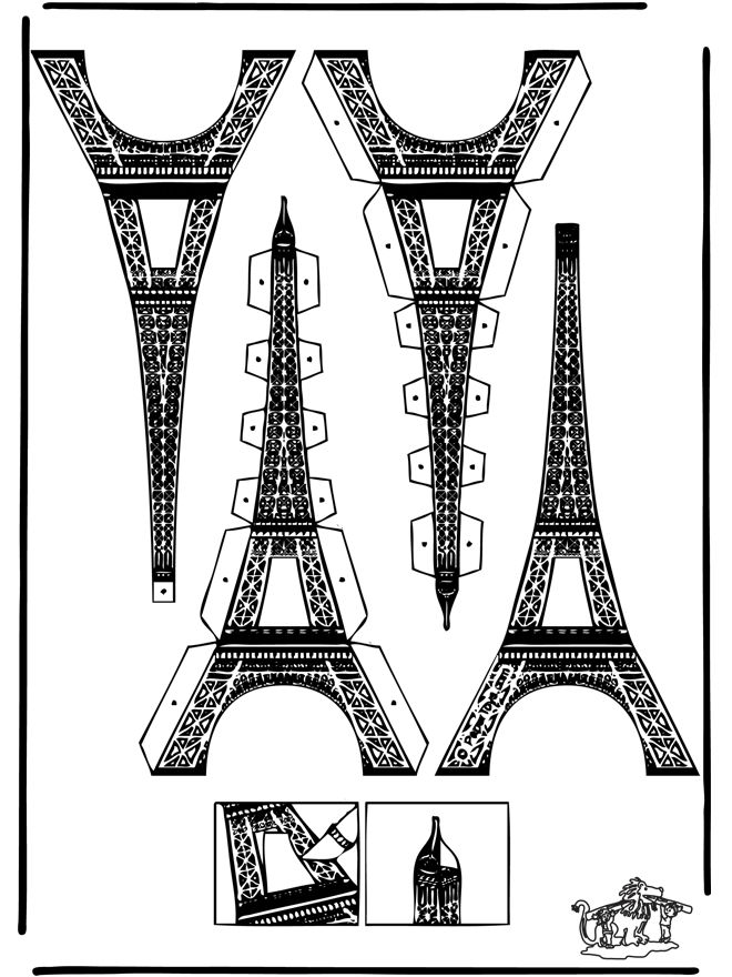Papercraft eifel tower cut out cardboard templates and for Eiffel tower model template