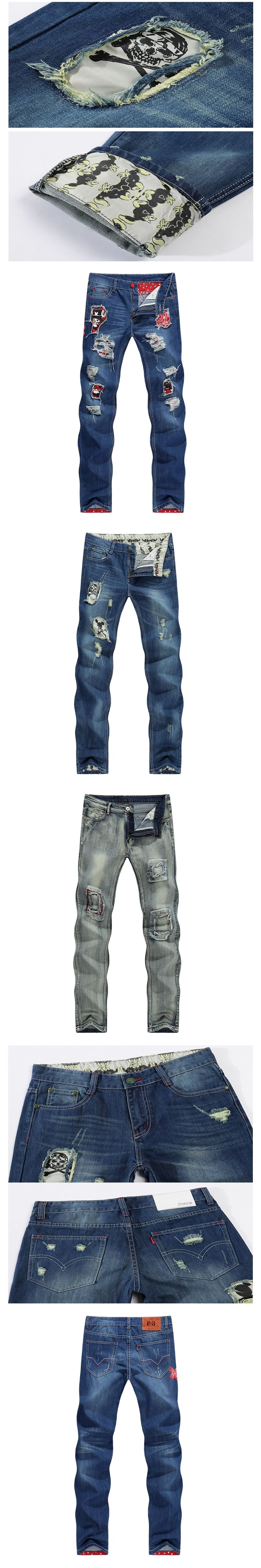 2017 Skull Character Designer Jeans Men Tapered Slim Europe American Style Blue Pencils Retro Grey Vintage Ripped Broken Pants