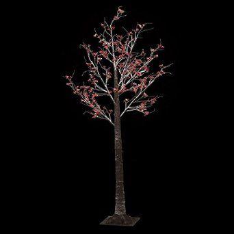 Christmas Floor Standing 7ft PRE-LIT Twig Outdoor Indoor Snowy Berry 120 LED Tree 210cm - Red Berries: Amazon.co.uk: Lighting