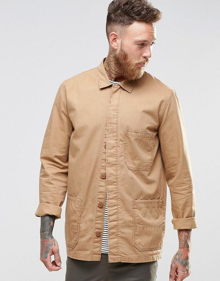 Image 1 ofASOS Worker Overshirt In Stone With Long Sleeves