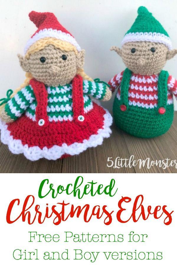 Crocheted Christmas Elves Crochet Pinterest Haken Kerst Kerst