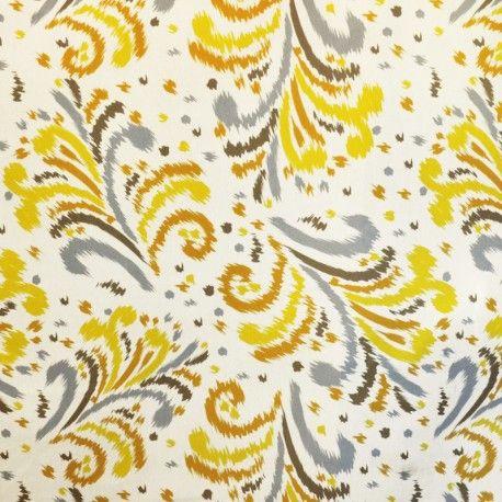 Toile Extérieur Motifs Ocre Pistache. Toile imperméable pour extérieur avec un imprimé de couleur sur un fond écru. Tissu acrylique pour stores de terrasses avec une finition en téflon qui évite l'infiltration de l'eau à travers le tissu, resistant, rigide et c'est un tissu parfait pour se protéger du soleil. Idéal pour faire des stores de terrasses.