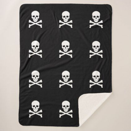 Pirate Flag Skull and Crossbones Jolly Roger Sherpa Blanket - black gifts unique cool diy customize personalize