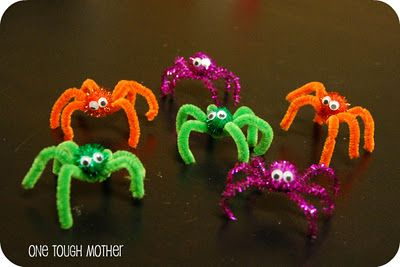 Pipe cleaner spider craft for the kids