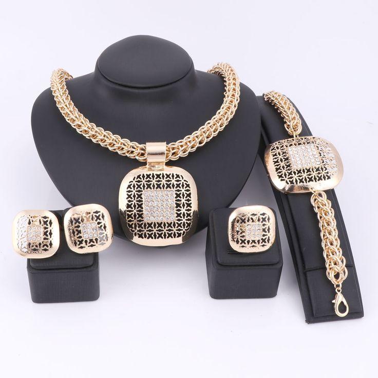 Mode Afrikaanse Kralen Sieraden Set Prachtige Dubai Vergulde Vierkante Kristal Sieraden Set Nigeriaanse Wedding Bridal Bijoux