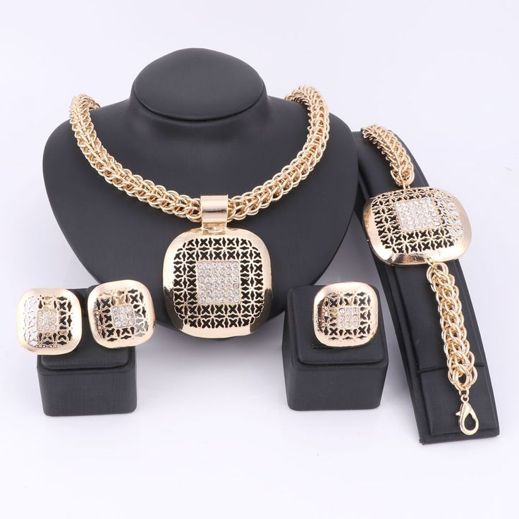 Fashion African Beads Jewelry Set Exquisite Dubai Gold Plated Square Crystal Jewelry Set Nigerian Wedding Bridal Bijoux