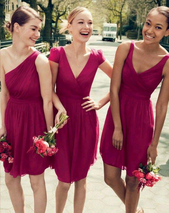 berry coloured bridesmaid dresses