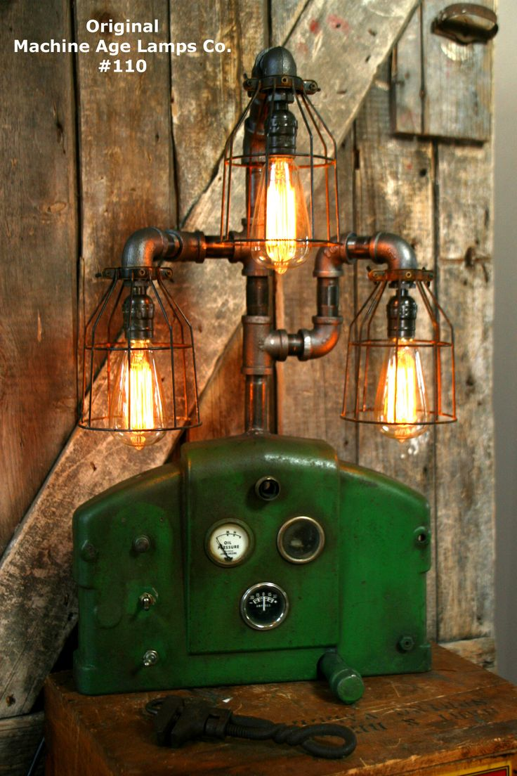Steampunk Lamp, Antique John Deere Farm Tractor Dash   #110   SOLD