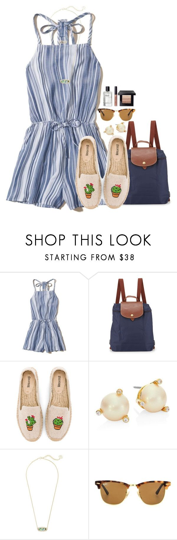 """""""~Im all about the palm trees and the 80 degrees~"""" by flroasburn ❤ liked on Polyvore featuring Hollister Co., Longchamp, Soludos, Kate Spade, Kendra Scott, Ray-Ban and Bobbi Brown Cosmetics"""