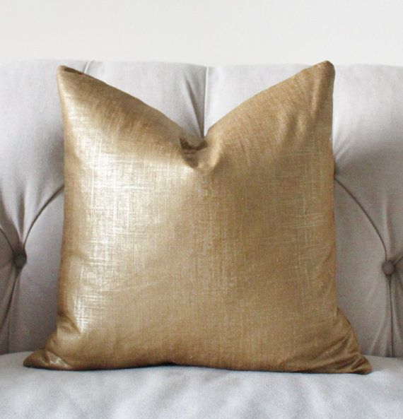 Bronze Gold Pillow  Metallic Pillow Cover Throw by MotifPillows, $50.00