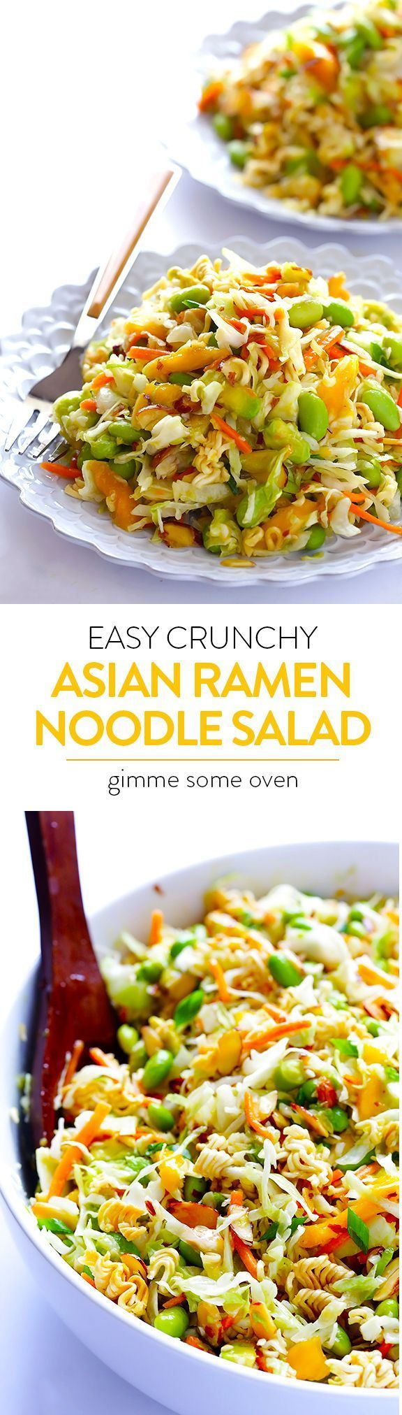 Crunchy Asian Ramen Noodle Salad -- quick and easy to make, lightened up from the original, and always a crowd favorite!   gimmesomeoven.com