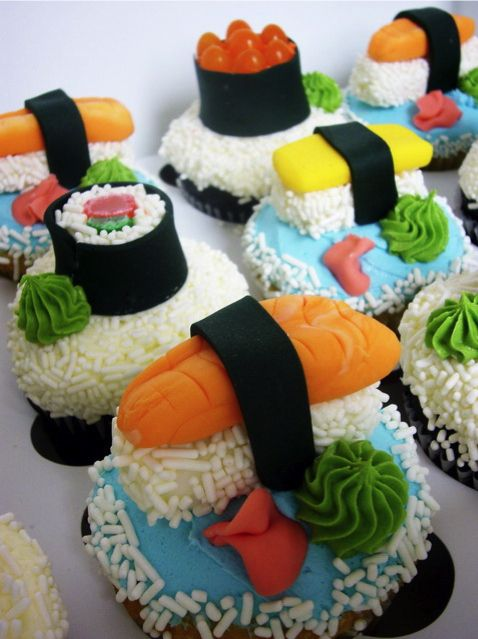 Sushi Cupcakes; Isabel would love this too many ideas for her birthday this year