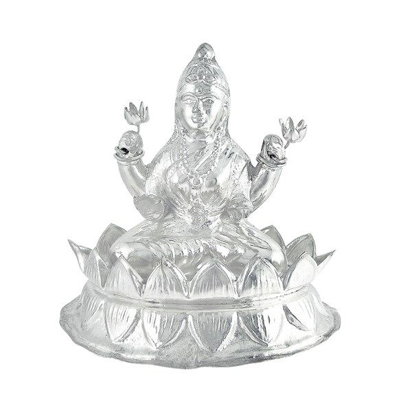 Jpearls Pure Silver Lotus Laxmi Idol | Silver Statues / Murtis of Indian Gods