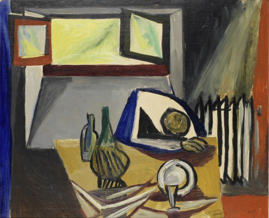 Renato Guttuso (Italian, 1912 - 1987) Interno, 1948 oil on canvas, 48.5 x 59.3 cm