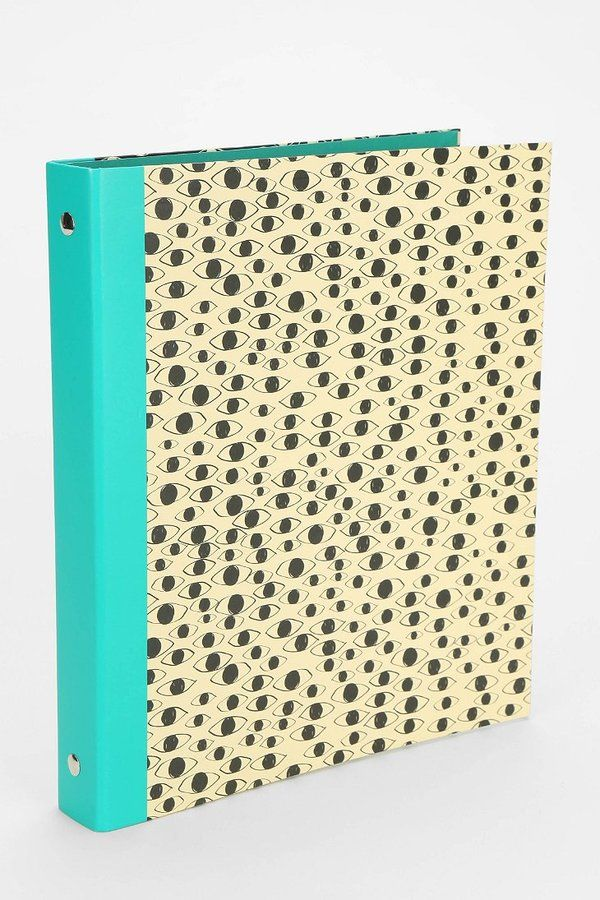 """UO 1 Inch Binder  The """"eyes"""" have it on this paper binder, exclusively at Urban Outfitters. I love the aqua color they chose for a contrast."""