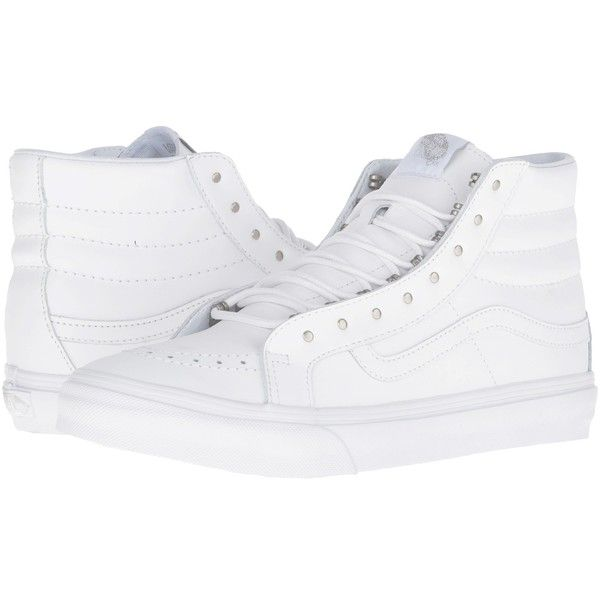 Vans SK8-Hi Slim ((Rivets) Antique Silver/True White) Skate Shoes ($75) ❤ liked on Polyvore featuring shoes, sneakers, high top sneakers, hi top skate shoes, skate shoes high tops, vans shoes and white sneakers
