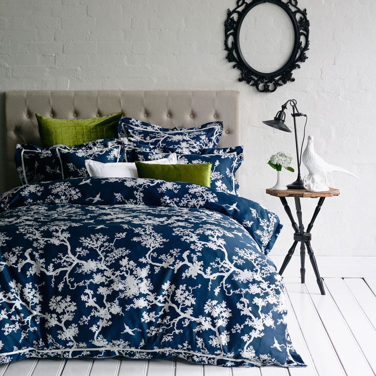 Florence Broadhurst Bed Linen. Cranes print in Ink