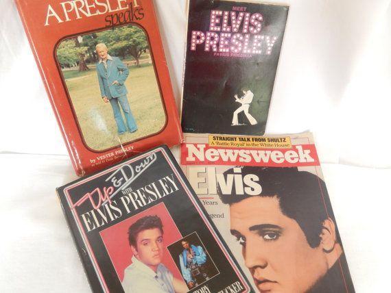vintage Elvis memorabilia, 3 books, 1 magazine, Elvis Presley, Elvis the King, the inside story