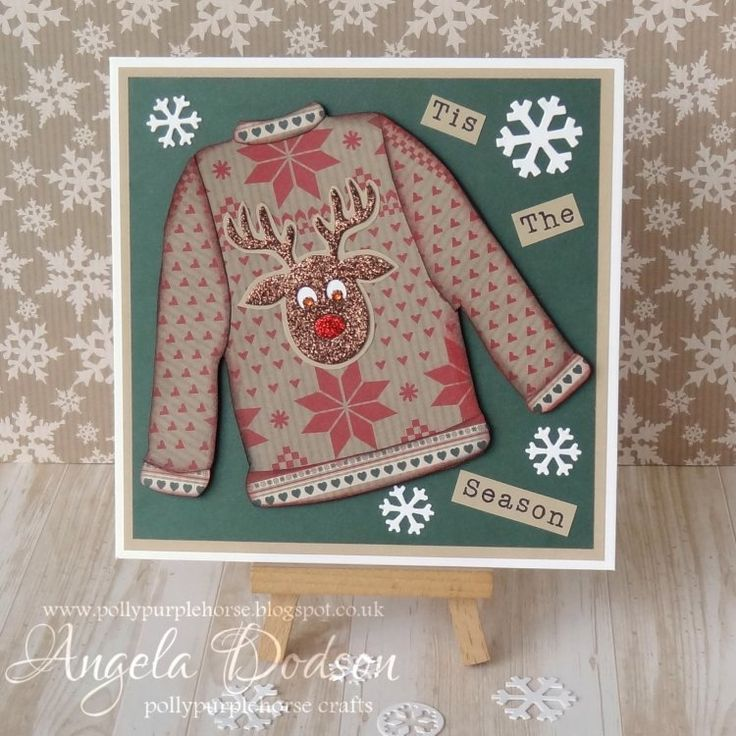 Adorable reindeer jumper craft by Angela who has used the Simply Creative Deck the Halls papers.