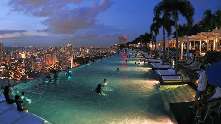 Take in stunning views from an infinity pool and observation deck in the clouds at the Marina Bay Sands SkyPark.