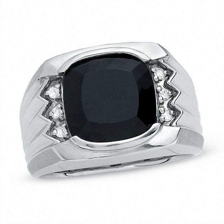 Zales Men's Cushion-Cut Onyx Ring in Sterling Silver with Diamond Accents