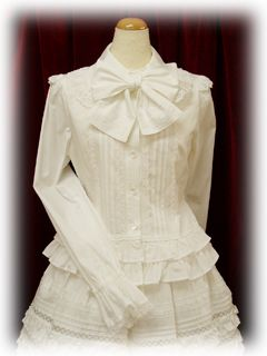 DIY Lolita Blouse. You Will Need: Blouse, Lace, Ribbon, about 1 yard of white fabric, and a Hook and Eye latch.