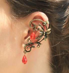 Ear Cuff Pedra Vermelha