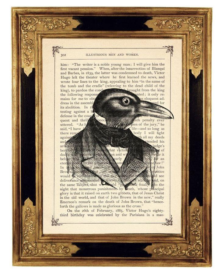 Halloween Raven Crow Gentleman Portrait  - Vintage Victorian Book Page Art Print Steampunk by curiousprintery on Etsy https://www.etsy.com/listing/66884165/halloween-raven-crow-gentleman-portrait