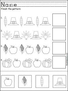 This is a free Thanksgiving pattern worksheet for Kindergarten or Pre-K math for practicing ABA patterns. Students cut, paste, and color the Thanksgiving pictures to practice their fine motor skills and pattern recognition. Available FREE on Madebyteachers.com.