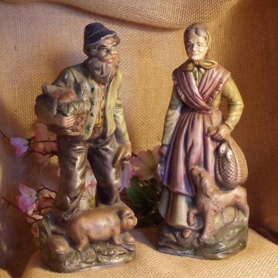 Vintage Porcelain Bisque Woman With Dog Feeding Dog Large Figurine