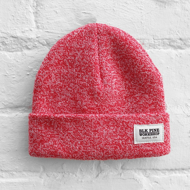 BLK Pine Workshop - Tight Knit Beanie - Red Marl - £24.99