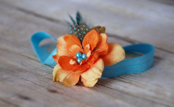 BABY HEADBAND.Teal  orange baby headband shabby by SAVANIboutique, $9.99