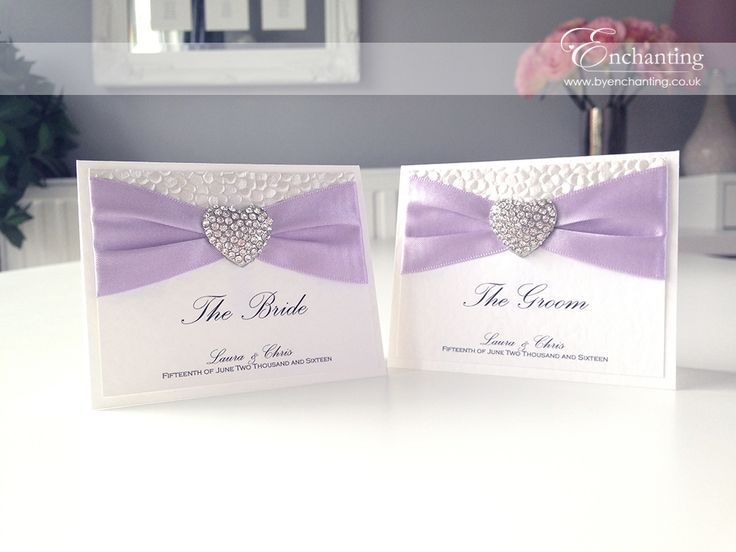 Lilac Wedding Stationery | The Ariel Collection - Luxury Place Cards | Featuring white pebble paper, purple lilac ribbon and diamaté heart embellishment | Luxury handmade wedding invitations and stationery #byenchanting